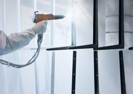 industrial Powder coating applied with a spray gun
