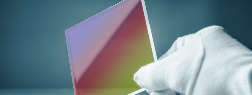 non-reflective coating on a piece of glass
