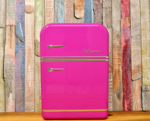 Pink fridge by powder coating appliances