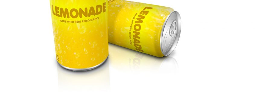 yellow lemonade cans treated with packaging coatings for metal